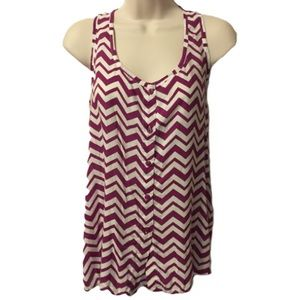 Purple and White Chevron Tank Top Large